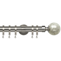 28mm IDC Poles Apart Fixed Pole With Pair of Empire Finials - Satin Silver