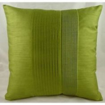 Green Pleated Faux Silk 43 x 43cm Cushion