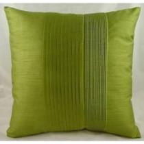 Green Pleated Faux Silk 43 x 43cm Cushion